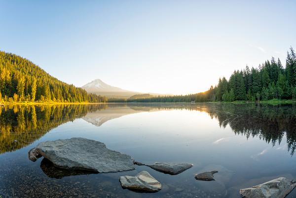 Trillium Lake Sunrise Fish Eye - Mount Hood-9