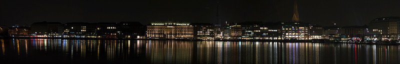 Night time cityscape as seen from Jungfernstieg, Hamburg, Germany