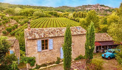 Traditional stone farmhouse and vineyard.