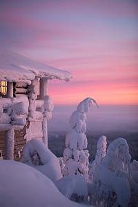 Log cabin in Finland in winter