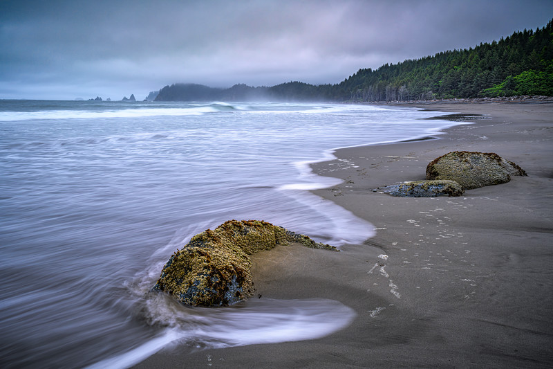 Long exposure of waves hitting rocks  on fog enshrouded Rialto Beach, Olympic National Park, Washington State