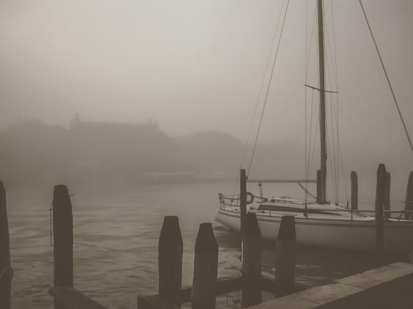 Sailboat Moored in the Fog Along Fondamente S. Giovanni dei Battuti