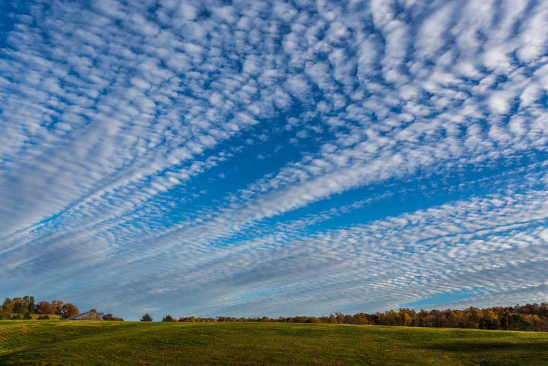 Striking clouds grace the sky over Charlottesville, Virginia in late fall.