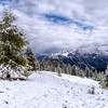 Snow in the Dolomites near Cinque Torri (Cortina d'Ampezzo), Italy