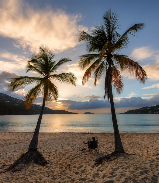 Sunset Reading at the Two Palms, Magens Bay, St Thomas USVI