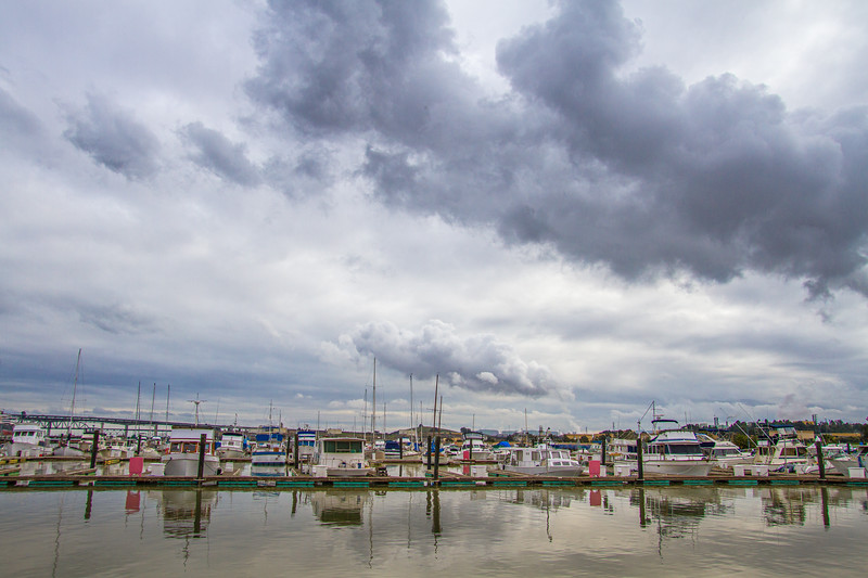 Clouds and boats