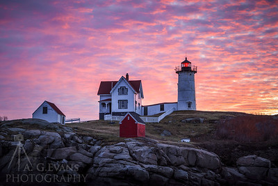 Nubble Close up Sunrise