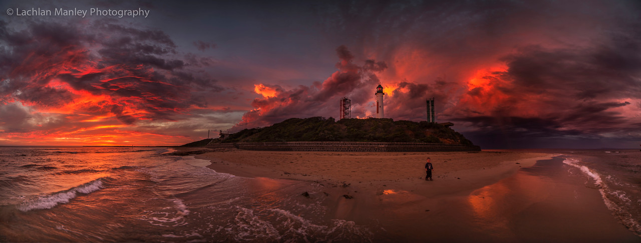 Sunset Fire panorama at Queenscliff Bluff