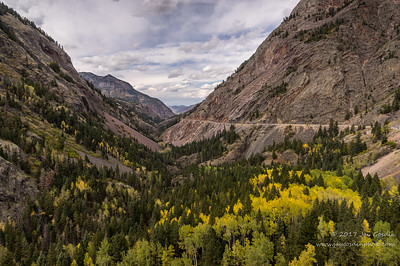 The Million Dollar Highway descending into Ouray, Colorado