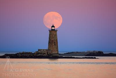 Supermoon Over Whaleback Light