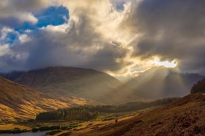 Sunbeams in Glen Etive, Scotland