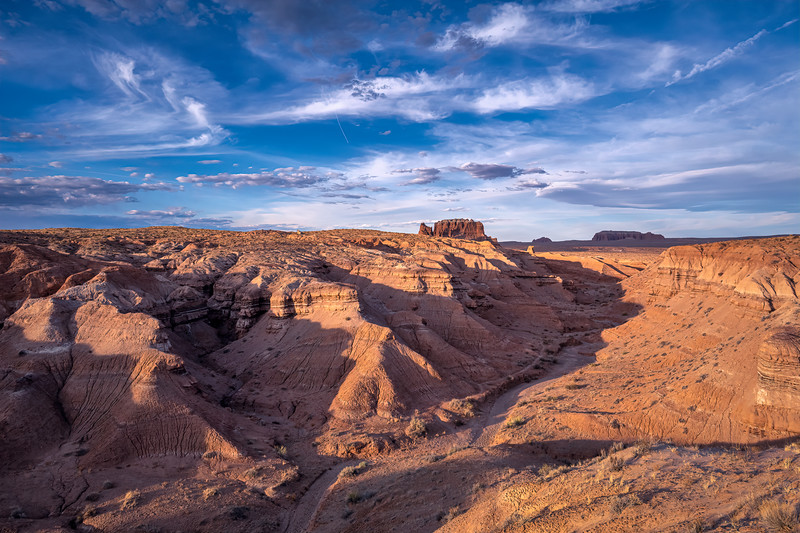 View of the Carmel Canyon Trail in Goblin Valley State Park at sunset, Utah