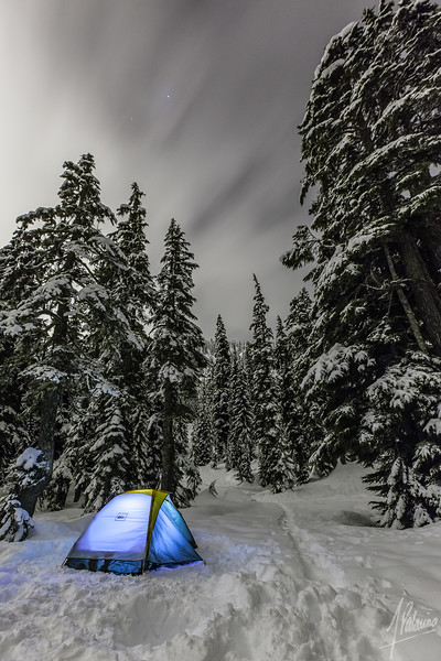 Snow camping in the Alpental Valley