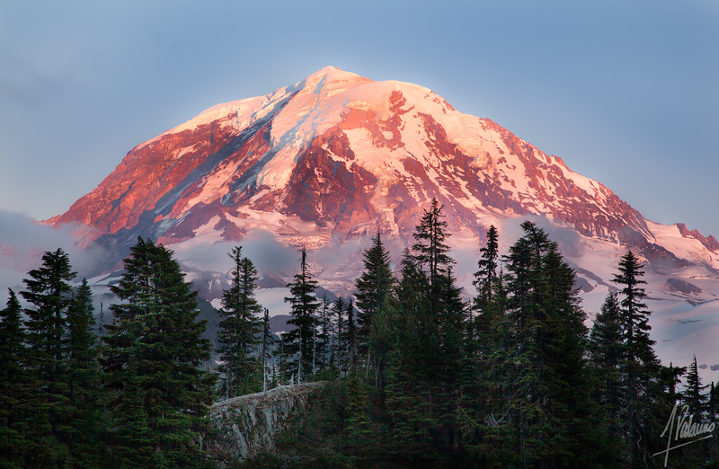 Intimate Mt Rainier glow at sunset, from Eunice Lake