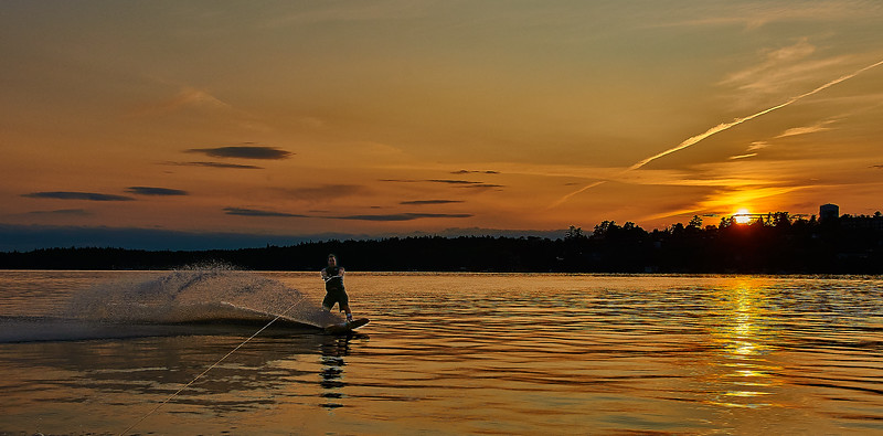 sunset wake boarding