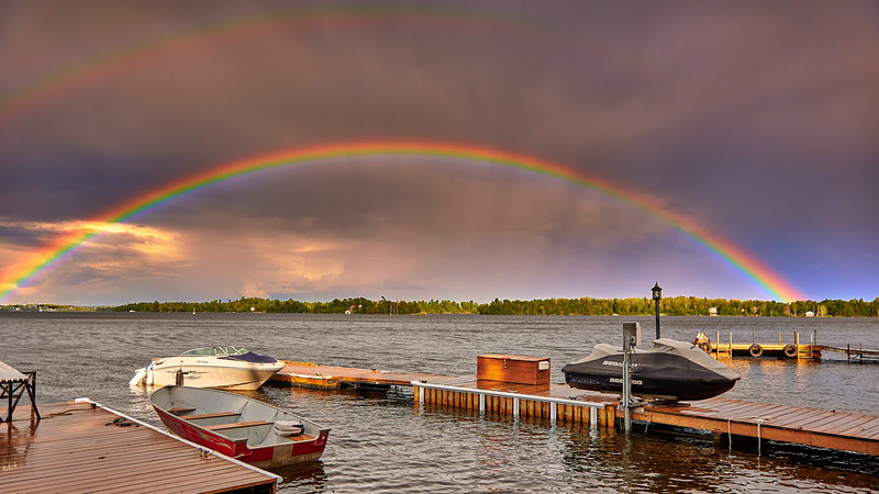 rainbow on lake of the woods