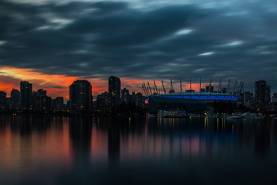 As night falls in Vancouver.