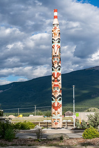 "The ""Two Brothers"" totem pole, erected in 2011."