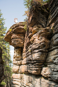 Athabasca falls has many cool rock formations.