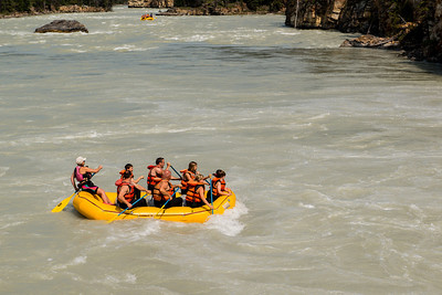 White water rafting in the Athabasca river.