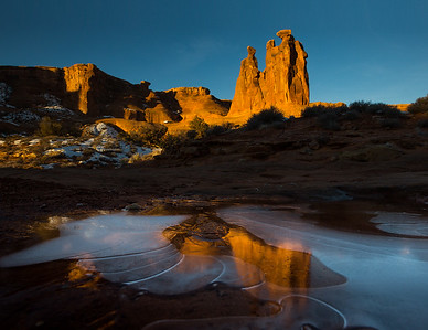 Three Gossips Reflection in Iced Pool