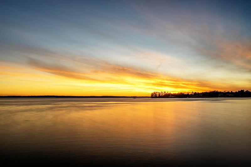 Sunset earlier tonight at Lake Murray.