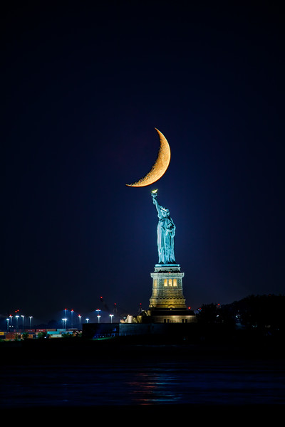 Crescent Moon over Statue of Liberty