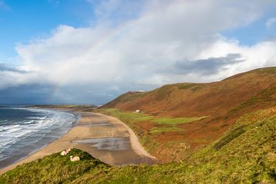 Rainbow across Rhossili Bay