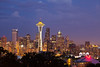 Downtown Seattle skyline at night from Kerry Park