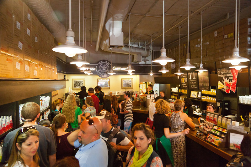 Original Starbucks at Pikes Place, fly on the wall view from the back corner