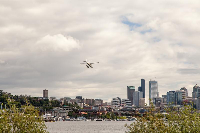 Water plane over Union Lake-Seattle, Wa