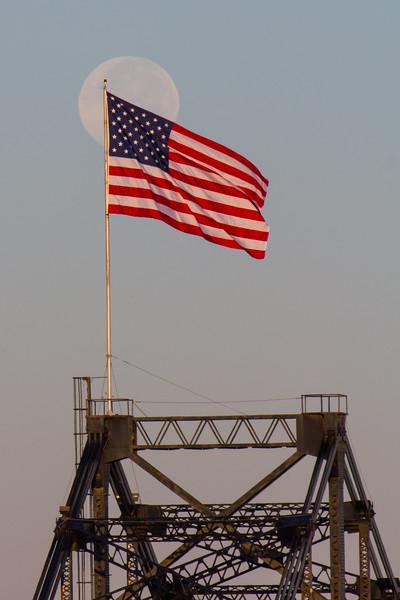 Vicksburg Bridge Flag and Moon