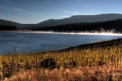 Morning fog rising from Lake Stampede, California