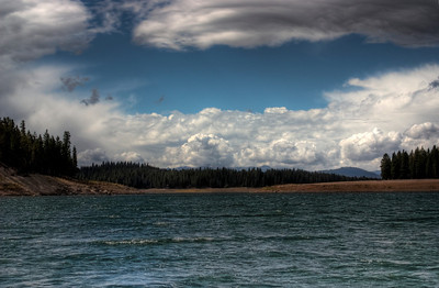 Storm clouds over lake Stampede, California