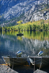 Silver Lake - east side Sierras.  Aspens starting color.  Boat rental area before season closing.