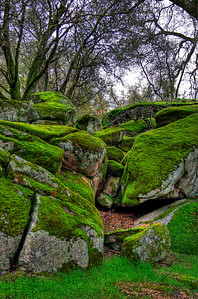 Moss covered outcropping on the road to Raymond in Madera county.