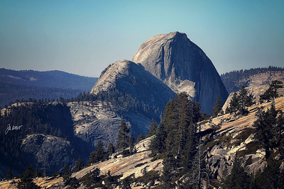 Half Dome and Lower Dome from Olmstead Point  on Tioga Pass