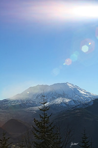 Mt. St. Helens with major sun flare.
