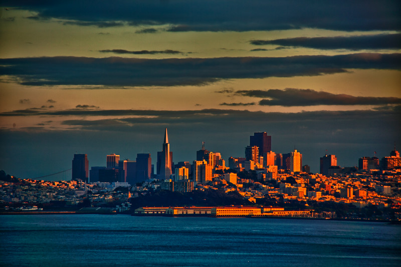HDR postcard rendition by Sandy of downtown San Francisco from the Larkspur Ferry in Jan of 2011.