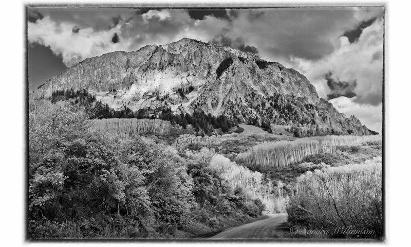 Marcellena Mountain, near Crested Butte Colorado with lots of storm clouds forming, Black and White