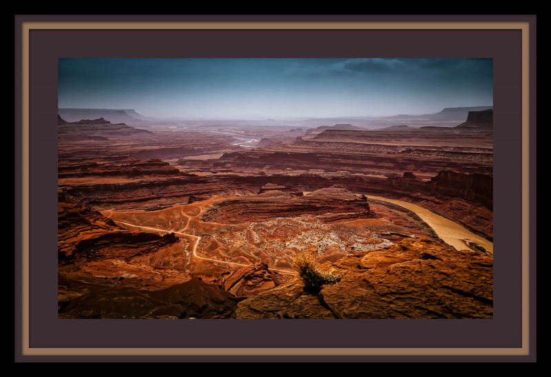 Framed in Photoshop to show the beauty of this scene in Dead Horse park west of Arches in Utah