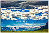 """Cows in the Crested Butte Mountain meadow in a """"watercolor"""" filter for a painterly look."""