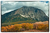 Marcellena Mountain, near Crested Butte Colorado with lots of storm clouds forming