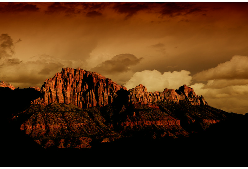 Cliffs at Stormy Sunset Zion