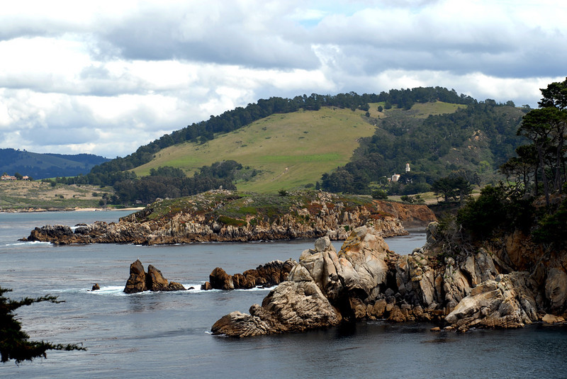 Looking north from Guillemot Island across Bluefish and Whalers Coves to Palo Corona Ranch