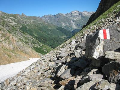 Blick vom Muretto Pass Richtung Engadin/Bergell