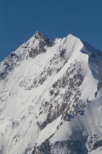 Piz Bernina (4049 m) mit Biancograt und Piz Alv (3995 m)