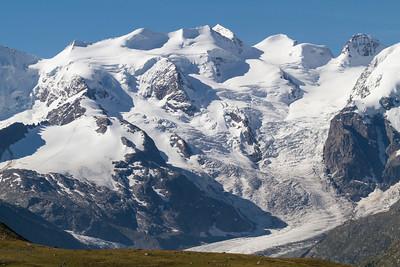 Persgletscher mit Piz Argent (3945 m), Piz Zupò (3996 m), Piz Bellavista (3922 m)