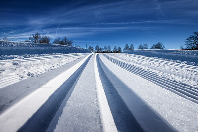 cross country tracks in swiss alps
