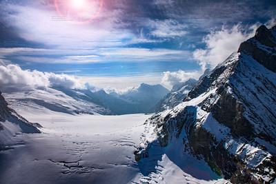 Three famous Swiss mountain peaks, Eiger, Mönch and Jungfrau